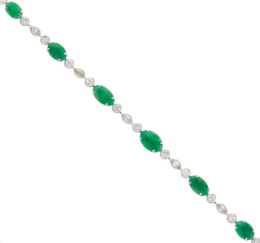 A jade and diamond bracelet in 18k white gold