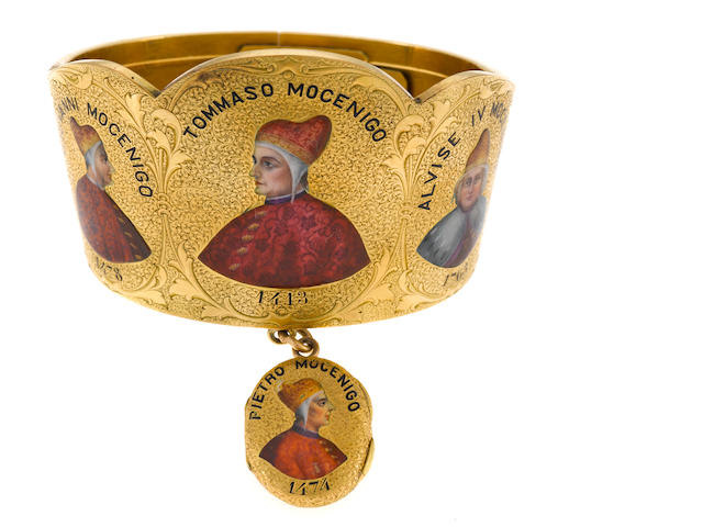 An enamel and 18k gold bangle bracelet with locket, featured Venetian Doges from the Mocenigo family