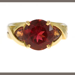 A tourmaline, pink sapphire, and 18k gold ring, t=3.72cts, s=1.25cts
