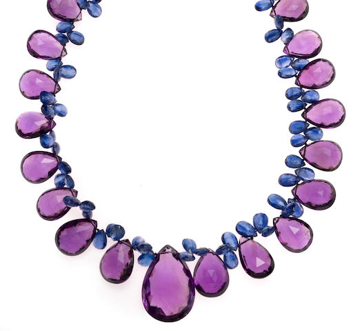An amethyst, kyarite, diamond, and 18k white gold necklace, 370cts
