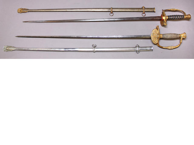A lot of two inscribed U.S. Model 1860 staff & field officer's sword
