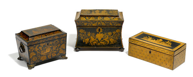 A group of three Regency stenciled tea caddies <BR />early 19th century