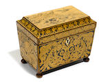 A Regency penwork tea caddy  early 19th century
