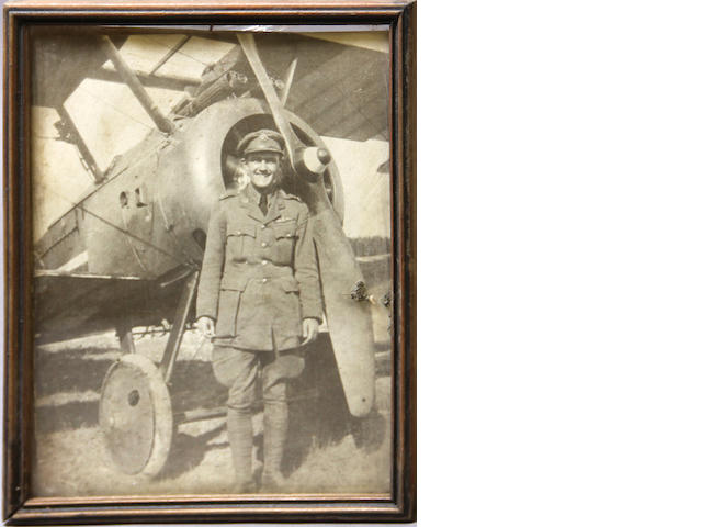A group of mounted photographs of American World War I aviators and aircraft
