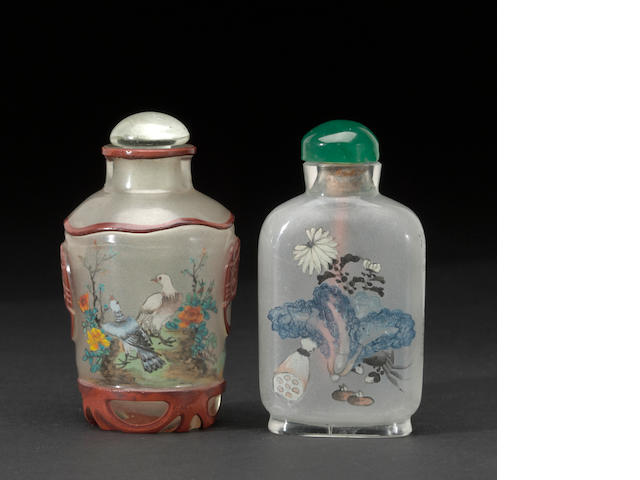 2 inside painted snuff bottles