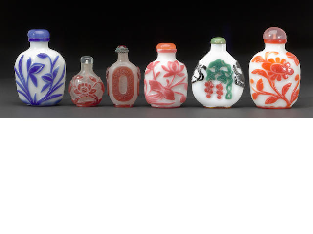 6 glass snuff bottles