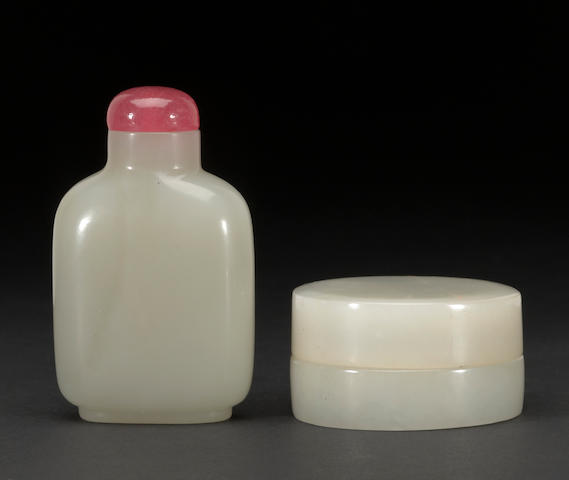 A white jade bottle and Jade box
