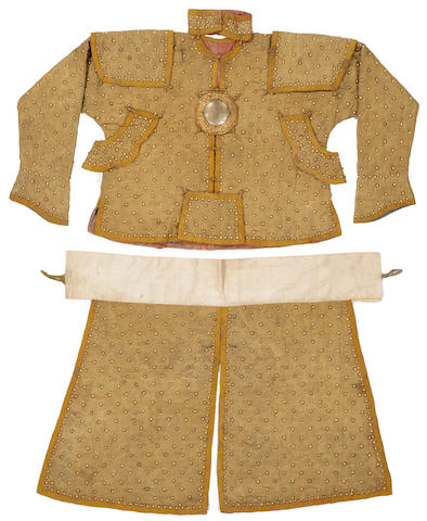 A partial suit of ceremonial armor for one of the eight Manchu banners 18th/19th century