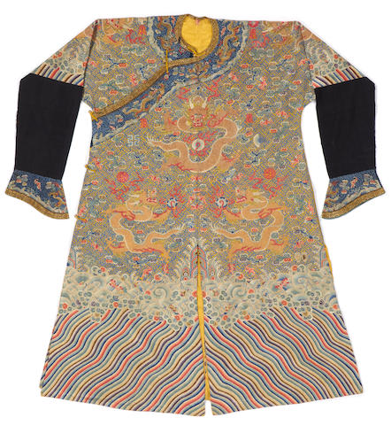 A Wanzi ground dragon robe with twelve symbols late Qing