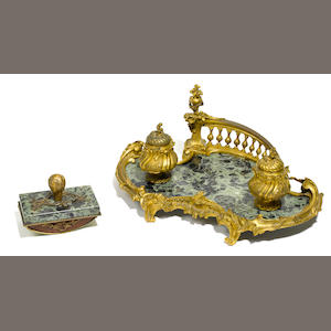 A Louis XV style gilt bronze and marble encrier