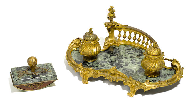 A Louis XV style gilt bronze and marble encrier  second half 19th century