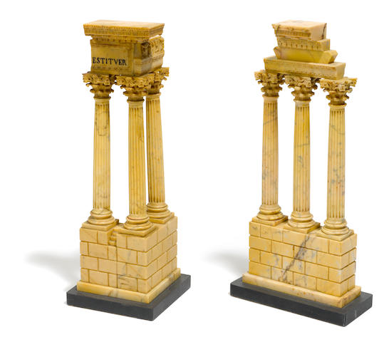 A pair of Italian marble models of the temples of Vespasian and Castor and Pollux  20th century