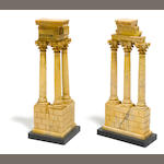 A pair of sienna marble models of the temples of Vespasian and Castor and Pollux