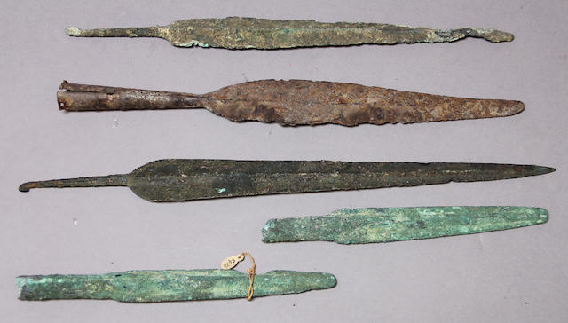 A group of Bronze and Iron Age weapons