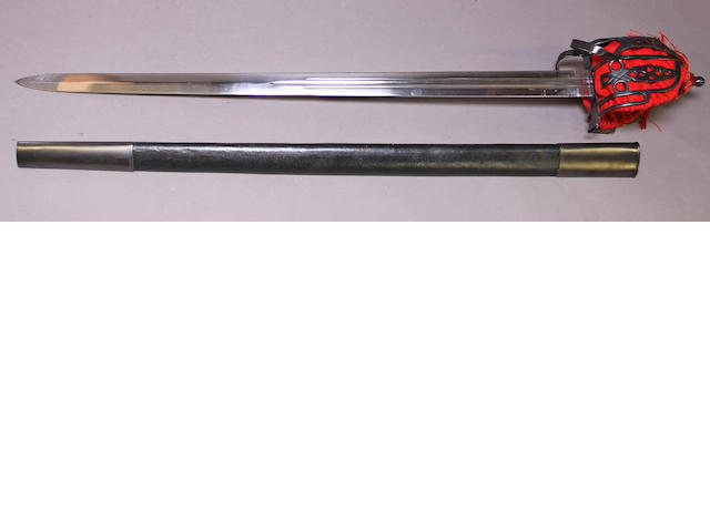 A reproduction Scottish baskethilted broadsword
