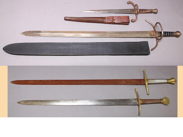 A lot of four reproduction edged weapons