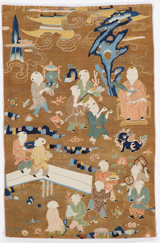 A Chinese embroidered textile 18th century