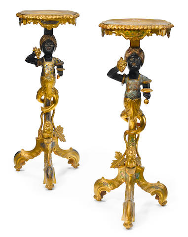 A pair of Venetian Rococo style polychrome decorated figural pedestals  late 19th century