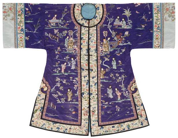 An embroidered purple ground woman's robe 19th century