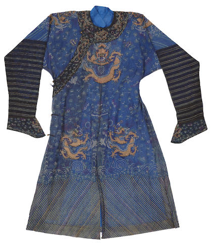 A blue ground summer gauze dragon robe