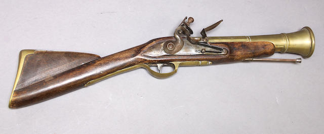 A reproduction flintlock blunderbuss