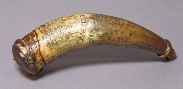 An American powder horn