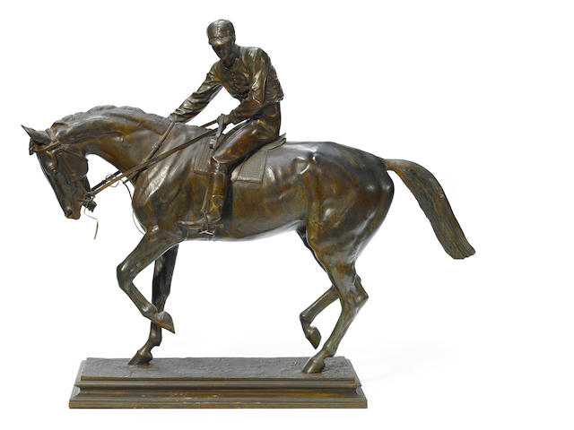 A French patinated bronze equestrian group of a jockey up <BR />after a model by Isidore Bonheur