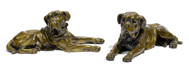 A pair of French patinated bronze models of hounds <BR />late 19th century