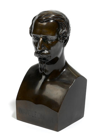 A French patinated bronze bust of Napoleon III  after a model by Marie-Louise Levre Deumier (French, 1816-1877) third quarter 19th century