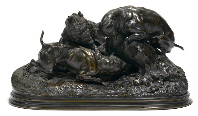 A French patinated bronze animalier group: Chasse au Lapin <BR />after a model by Pierre-Jules Mêne (French, 1810-1879)<BR />first half 20th century
