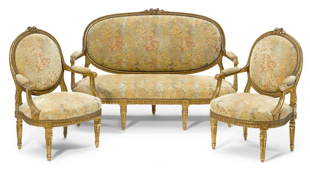 A suite of Louis XVI style giltwood seat furniture