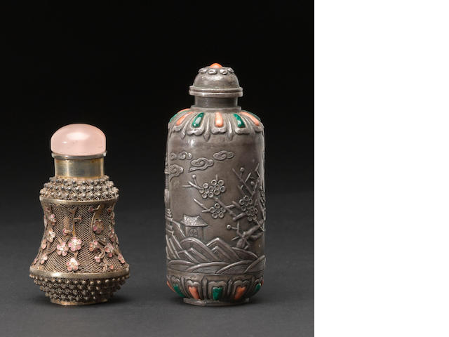 Two metal snuff bottles, one marked silver