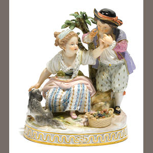 A Meissen porcelain figural group