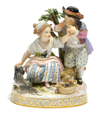 A Meissen porcelain figural group  late 19th century