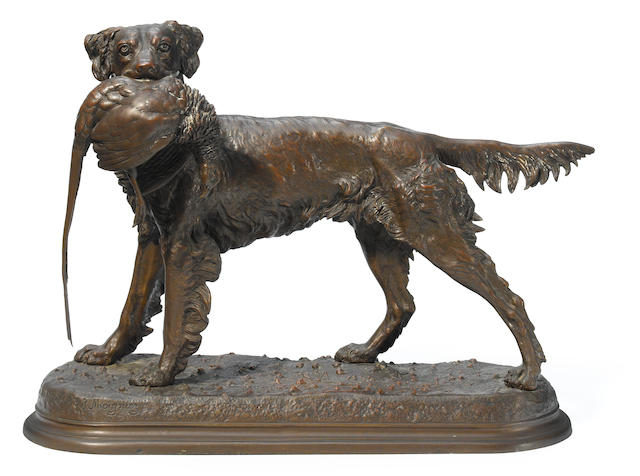 A French patinated bronze animalier group of a spaniel holding a pheasant in its mouth <BR />after a model by Jules Moigniez (French, 1835-1894)
