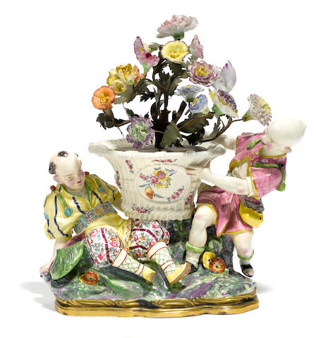 A Samson porcelain chinoiserie figural group  late 19th century