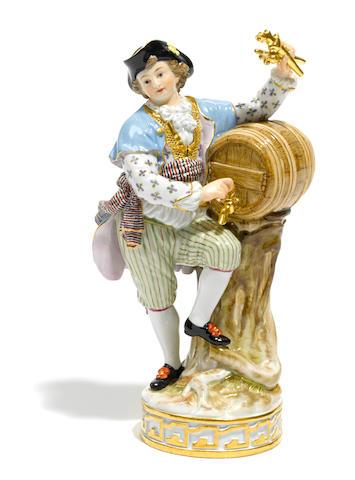 A Meissen porcelain figure of a young man beside a key- pending sale
