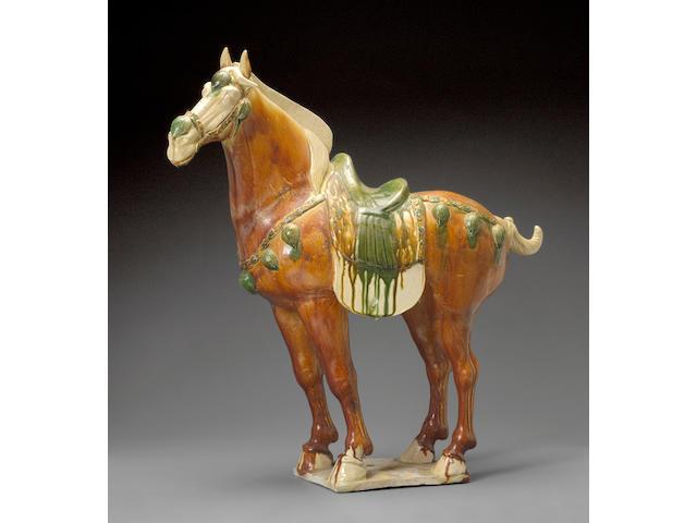 A fine sancai glazed pottery horse Tang Dynasty