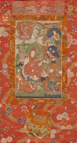 A Tibetan thangka of a lama, 19th century