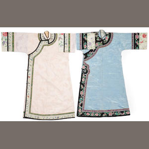 Two woman's brocade and embroidered robes, one pale blue and one pink Qing