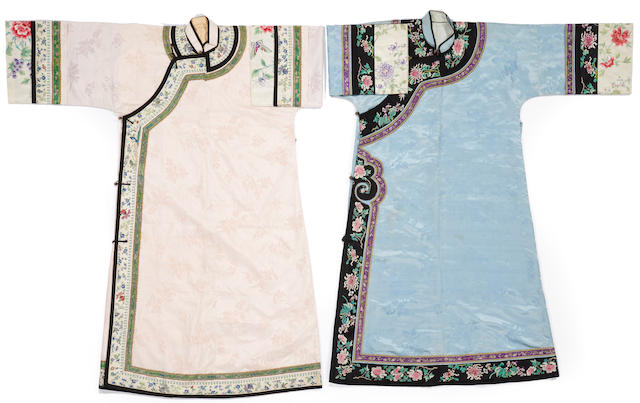 Two Manchu woman's silk brocade robes with embroidered decoration, changyi Late Qing dynasty