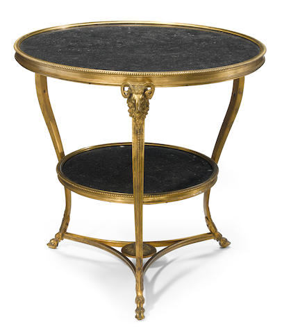 A Louis XVI style gilt bronze two tier table