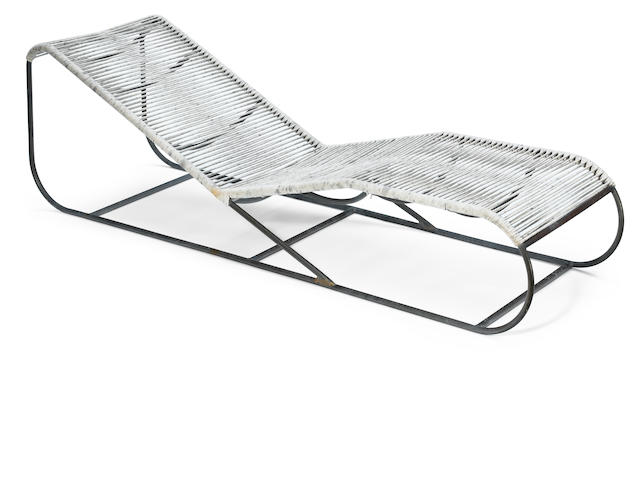 A Kipp Stewart for Terra Bronze and cord chaise lounge