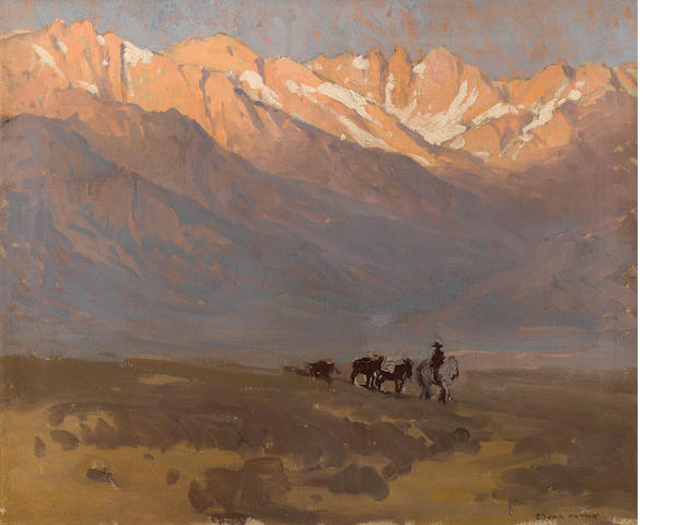 Edgar Payne, Rider with Pack Horses beneath Mt. Whitney