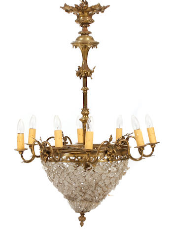A Belle Époque gilt metal cut and frosted glass chandelier