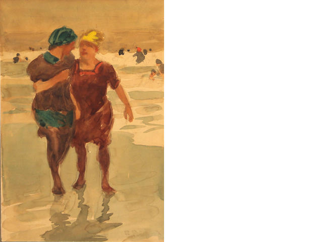 Attributed to Edward Henry Potthast (American, 1857-1927) Bathers on the beach 12 x 8in