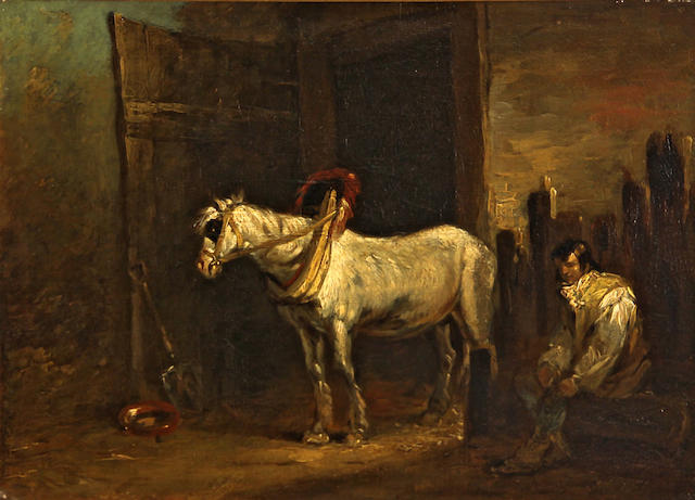 Follower of George Morland (British, 1763-1804) A grey horse in a stable 12 x 16in