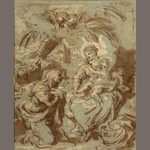 Manner of da Cartona, Madonna and child, drawing