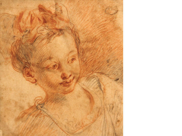 Manner of Watteau, Head of a young girl, red/black chalk/pp