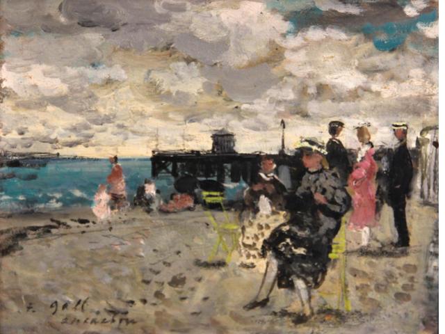 François Gall (French, 1912-1987) Eugénie et ses enfants, plage d'Arcachon, 1951 7 1/2 x 9 13/16in (19 1/2 x 25cm)